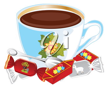 Cup coffee and sweetmeats on white background is insulated