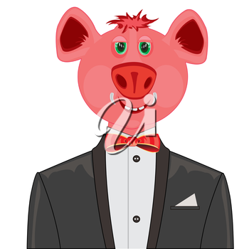 Cartoon piglet in black suit with tie by butterfly