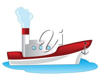 Steamship floating seaborne on white background is insulated