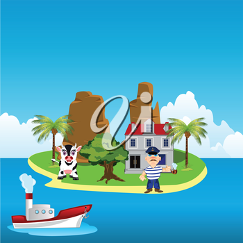 The Tropical island and hotel for rest.Vector illustration