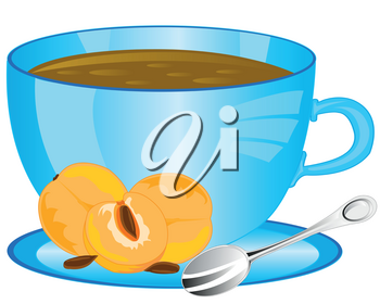 Cup of tea and fruits plum on white background