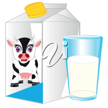 Carton and glass with milk on white background
