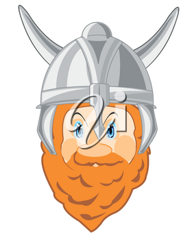 Portrait of the bearded warrior of the viking in defensive send