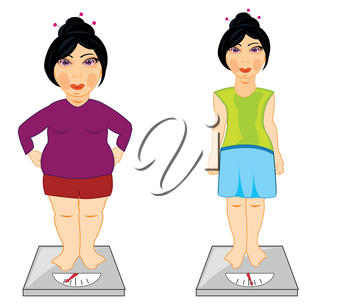 Vector illustration of the girl before and after increasing of the weight