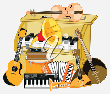 Much music instruments on white background is insulated