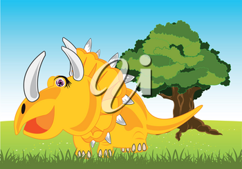 Vector illustration of the extinct dinosaur Eotriceratops on year glade