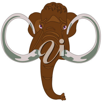 Prehistorical animal mammoth on year glade with flower