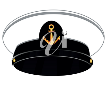 Vector illustration of the service cap of the captain on white background is insulated