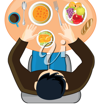Persons with meal at the table.Vector illustration