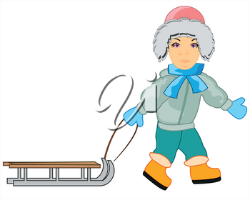 Vector illustration of the cartoon child boy with sled