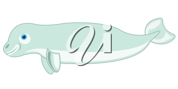 Vector illustration of the cartoon of the whale white whale