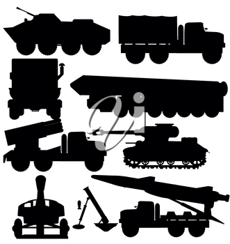 Silhouettes of the technology and weapons on white background is insulated