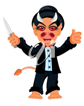 Cartoon line with horn and knife in hand