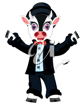 Comic personage animal cow in suit on white background