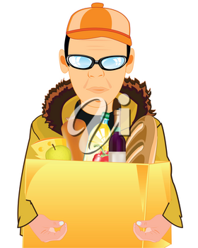 Man courier with package of the products on white background is insulated