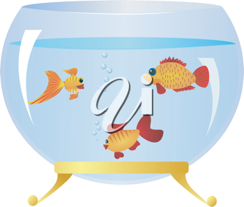 Royalty Free Clipart Image of Fish in a Fishbowl