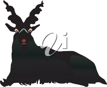 Royalty Free Clipart Image of a Silhouette of a Billy Goat
