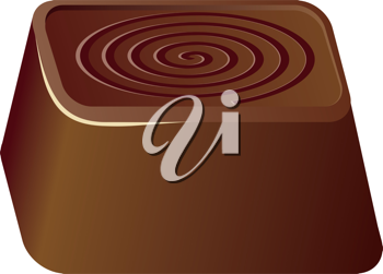 Royalty Free Clipart Image of a Square Piece of Chocolate