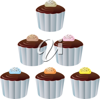 Royalty Free Clipart Image of a Variety of Chocolate Cupcakes With Jelly Beans on Top