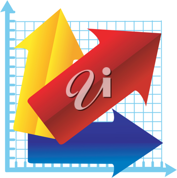 Royalty Free Clipart Image of a Graph Chart Using Coloured Arrows To Represent Growth