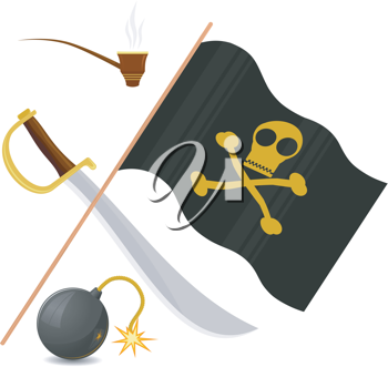 Royalty Free Clipart Image of a Collection of Pirate Icons