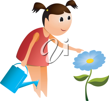 Royalty Free Clipart Image of a Young Girl With a Watering Can Touching a Blue Flower