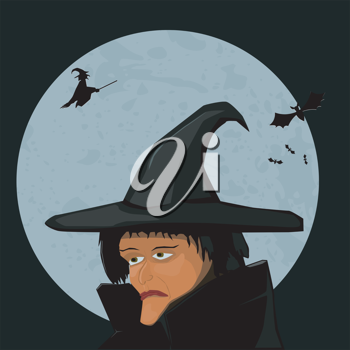 Witch on a background of the Moon