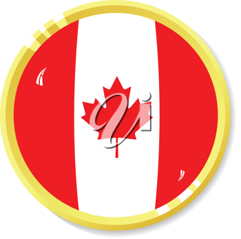 Vector  button with flag Canada