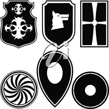 A set of silhouettes of military shields