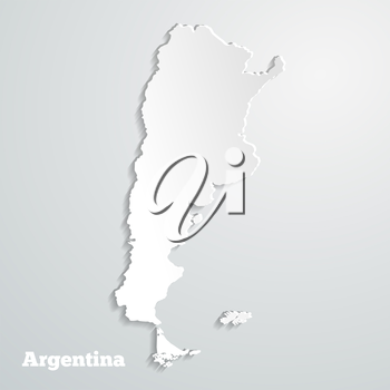 Abstract icon map of  Argentina on a gray background