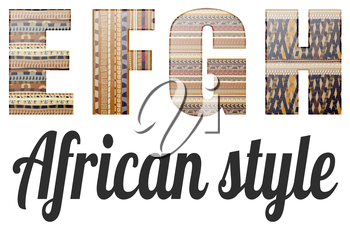 Four letters of the alphabet in the African style
