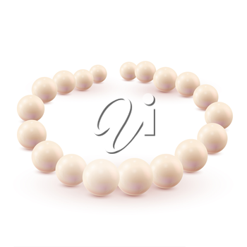 Set of pearls isolated on white background. Vector illustration.