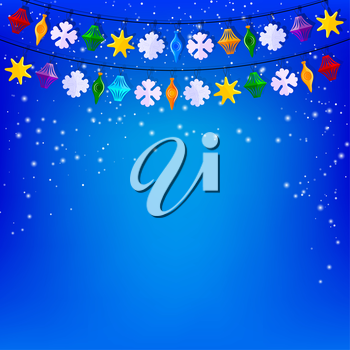 Festive blue background with a garland of paper Christmas toys. Vector illustration.