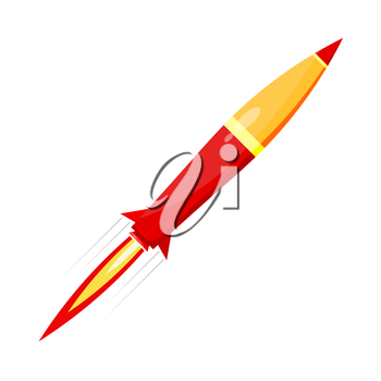 Combat red rocket in motion isolated on white background. Vector illustration.