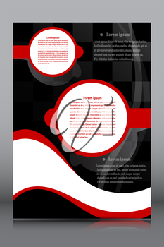 Black banner with a red and white geometric fields for text on a gray background. Vector illustration.