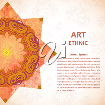 Banner with floral ornaments, flowers, leaves. Mandala. Vector illustration.