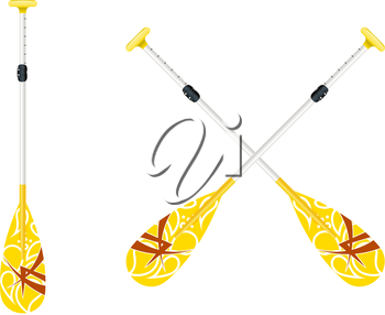Two yellow oars for canoe