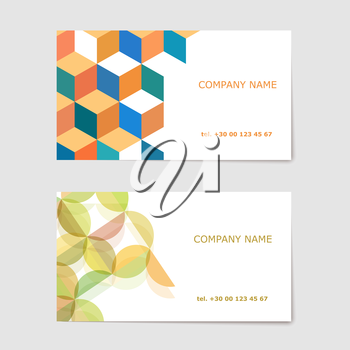 Two business card on a gray background. Vector illustration