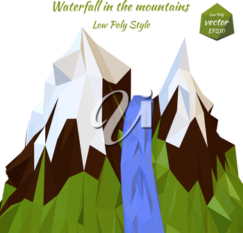Landscape mountain river and snow-capped mountain peaks. Low poly style. Vector illustration.