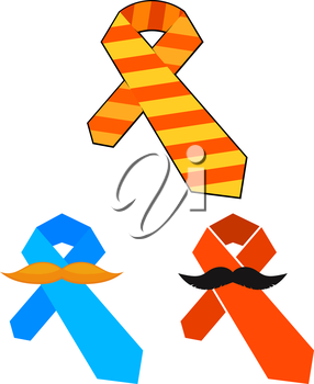 Colorful tie with a mustache. Element for congratulations Father's Day. Cartoon design. Vector illustration