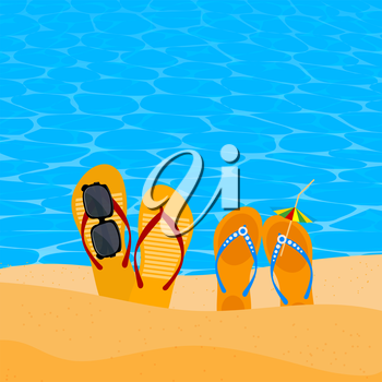 Two pairs slap on the seashore. Beach shoes on the sand with sunglasses and umbrella. Concept of summer vacation. Element  of travel agency advertising. Beach concept. Illustration of summer vacation.