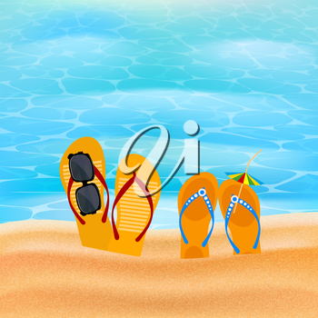 Two pairs slap on the seashore. Beach shoes on the sand with sunglasses and umbrella. The concept of summer vacation. Element for design of travel agency advertising. Beach concept. Illustration of su