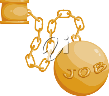 Fetters the chain and a large ball on a white background. The concept of hard work. Stock vector