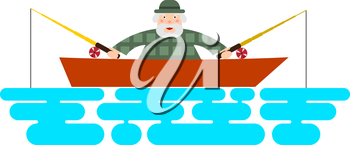 Fisherman on the boat. Illustration of a fishing boat - fisherman with two rods. The flat design. Stock vector