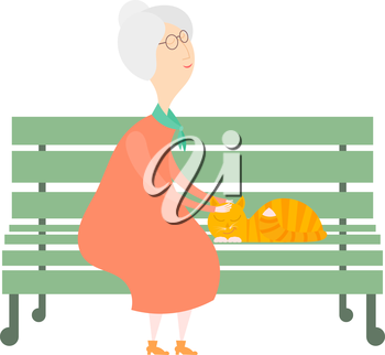 The old woman and a cat on the bench. An old woman with a red cat on a green bench. Cartoon illustration of an elderly woman and a cat on the bench in the park. Stock vector