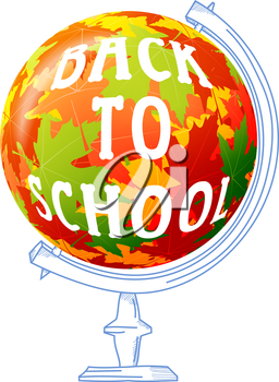 Concept autumn school. Child's drawing on a white background. Sphere of autumn maple  leaves, abstract colored globe. Stock vector illustration