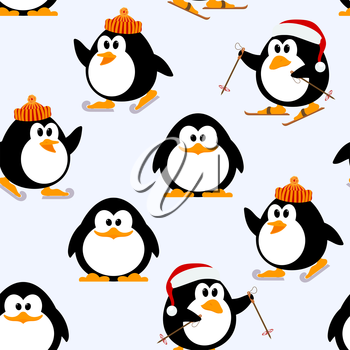 Vector seamless pattern with young penguins playing. Penguins skating, skiing. Winter 