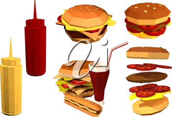 Vector Low poly fast food on a white background. Set of fast food restaurant products. Hamburger, cola, coffee, french fries. Stock vector illustration