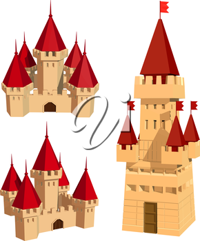 Vector color set of castles and flags on a white background. Abstract ancient building on a white background. Isolated object. Castle, Tower, Flag. Stock vector illustration