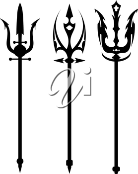 Set vector illustration of abstract black trident on a white background. Isolated objects. Ancient weapon. Mythical war weapons.